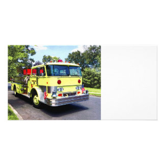 Yellow Fire Truck Photo Card