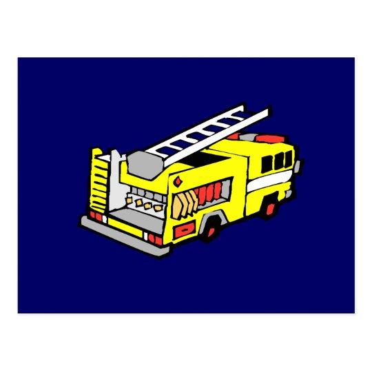 Yellow Fire Truck Postcard
