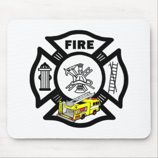 Yellow Fire Truck Rescue Mouse Pad