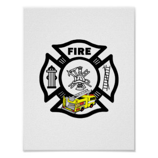 Yellow Fire Truck Rescue Poster