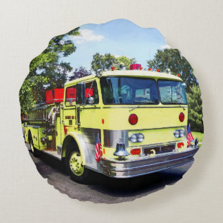 Yellow Fire Truck Round Pillow