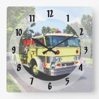 Yellow Fire Truck Square Wall Clock