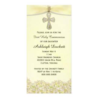 Yellow First Holy Communion Religious Invitation