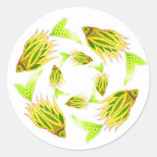 Yellow Fish Circling Sticker