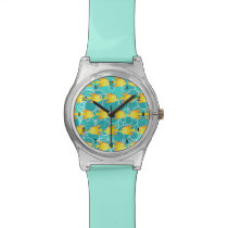 Yellow fish pattern watch