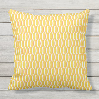 Yellow Fish Scales Pattern Outdoor Pillow