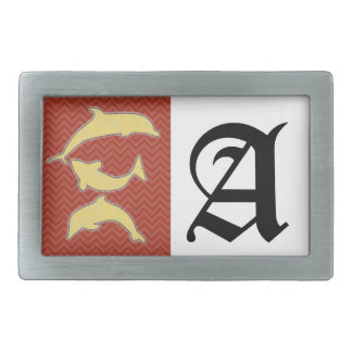 Yellow Fishes on zigzag chevron - Red Belt Buckle