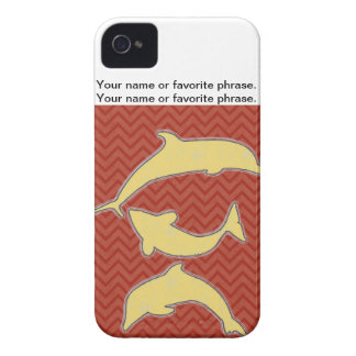 Yellow Fishes on zigzag chevron - Red iPhone 4 Cover