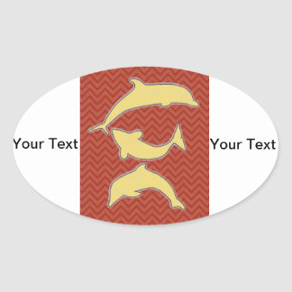 Yellow Fishes on zigzag chevron - Red Oval Sticker