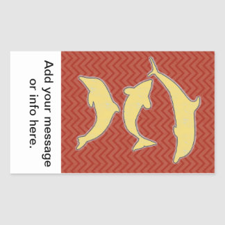 Yellow Fishes on zigzag chevron - Red Rectangular Sticker