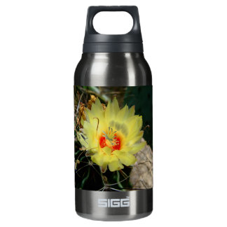 Yellow fishhook cactus flower insulated water bottle