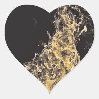 Yellow Flame Heart Sticker