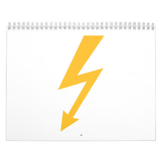 Yellow flash lightning bolt calendar