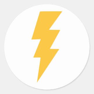 Yellow Flash Lightning Bolt Classic Round Sticker