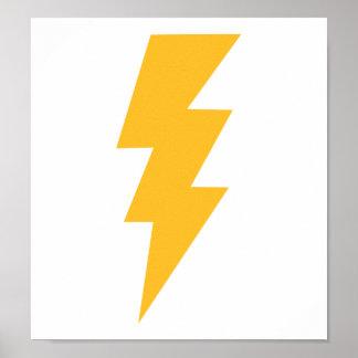 Yellow Flash Lightning Bolt Poster