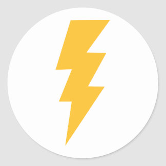 Yellow Flash Lightning Bolt Round Stickers