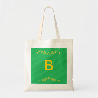 Yellow Fleur De Lis Border Green Monogram Bags