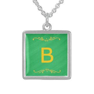 Yellow Fleur De Lis Border Green Monogram Necklace