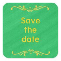 Yellow Fleur De Lis Border Green Save date Sticker