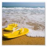 Yellow Flip Flops on the beach Photo Print