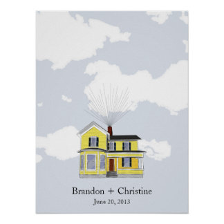 Yellow Floating Home Fingerprint Guestbook Poster