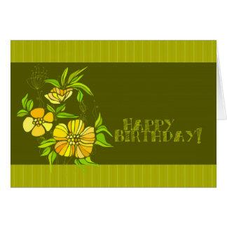 Yellow Flora Birthday Greeting Card