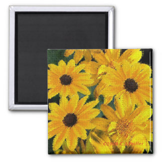 'Yellow Floral' 2 Inch Square Magnet
