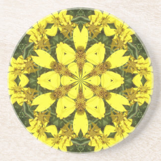yellow floral abstract design daisies drink coaster