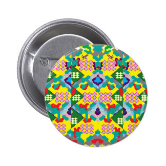 Yellow Floral Abstract Graphic Flower Design DIY 2 Inch Round Button