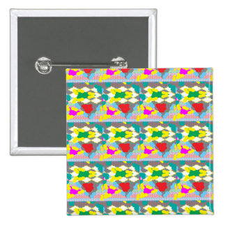 Yellow Floral Abstract Graphic Flower Design DIY 2 Inch Square Button