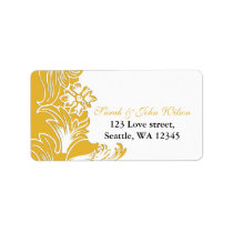 yellow floral address label