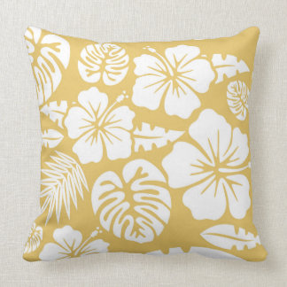 Yellow Floral and Leaves Tropical Hawaiian Throw Pillow