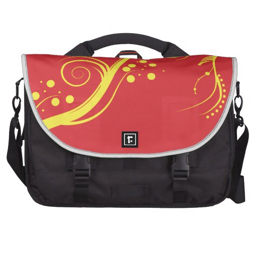 Yellow floral and swirls Laptop Bag