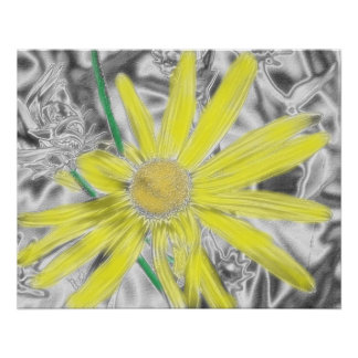 Yellow Floral Art Poster