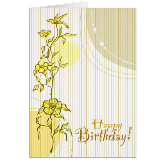 Yellow Floral Birthday Greeting Card