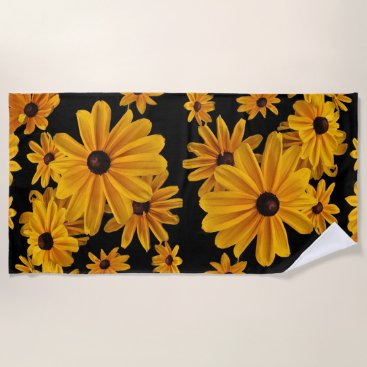 Beach Themed Yellow Floral Black Eyed Susan Flowers Beach Towel