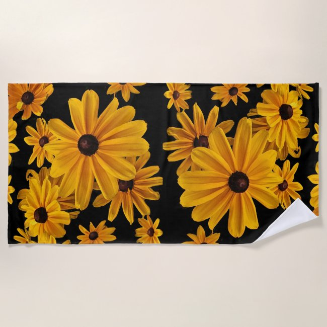 Yellow Floral Black Eyed Susan Flowers Beach Towel