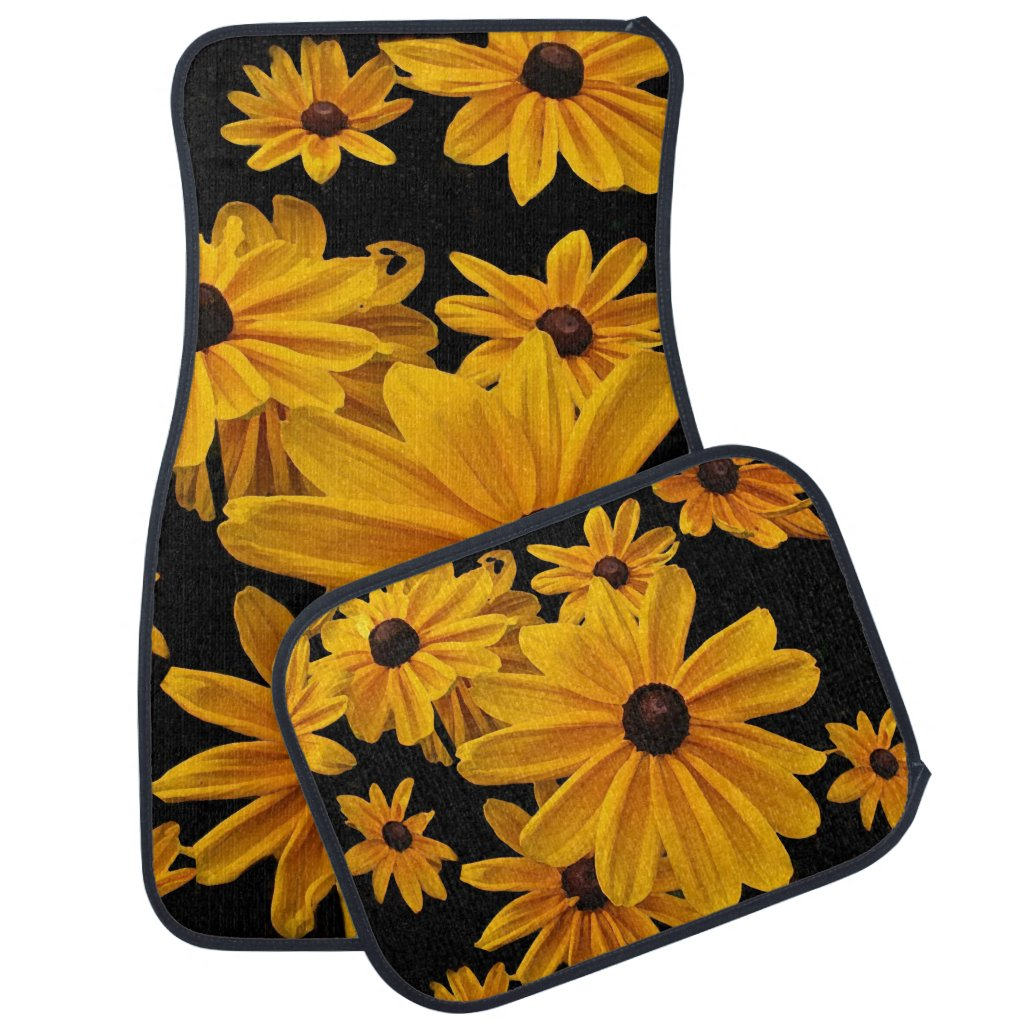 Yellow Floral Black Eyed Susan Flowers Car Mat