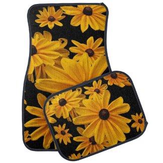 Yellow Floral Black Eyed Susan Flowers Car Mat