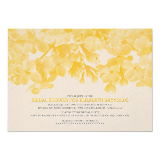 Yellow floral bridal shower invitations zazzle for Yellow bridal shower invitations