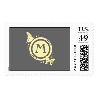 Yellow Floral Butterfly Monogram on Gray Stamp