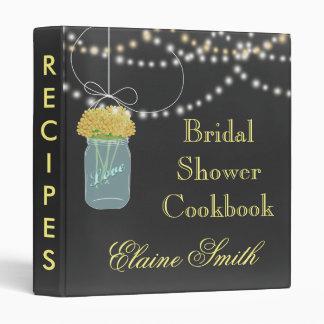 yellow floral Chalkboard Mason Jar Recipe Folder 3 Ring Binder