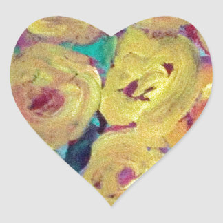 Yellow Floral Design Products Heart Sticker