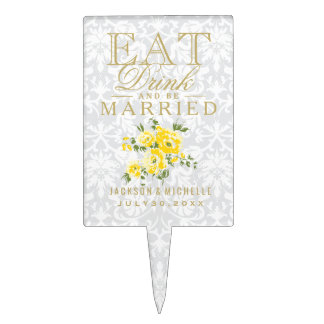 Yellow Floral - Eat, Drink and Be Married Cake Topper