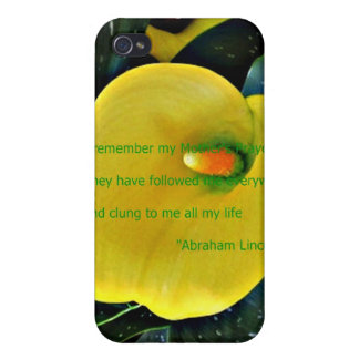 Yellow Floral famous quote Mother's day iphone spe Cases For iPhone 4