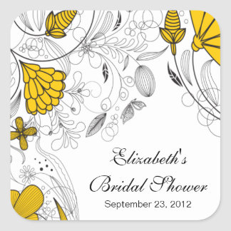 Yellow Floral Flowers Bridal Shower Favor Sticker