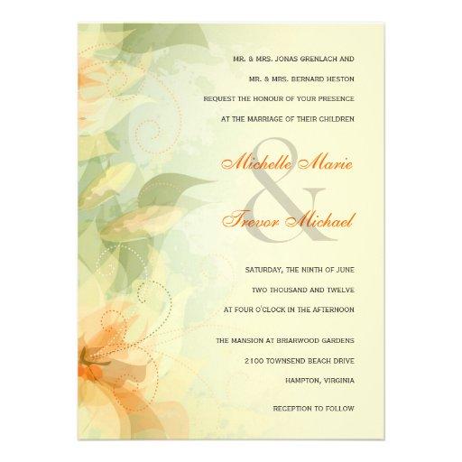 Yellow Floral Garden Wedding Invitations 5 5 X 7 5 Invitation Car