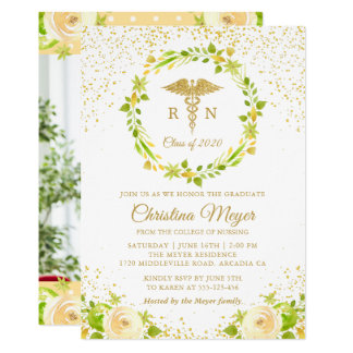 Yellow Floral Gold Nursing Graduation Party Photo Card
