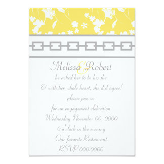Yellow Floral & Gray Chain Design Card