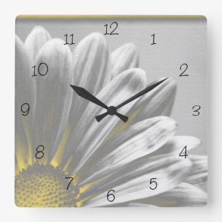 Yellow Floral Highlights Square Clock